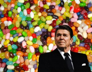 Ronald Reagan against a backdrop of jelly beans