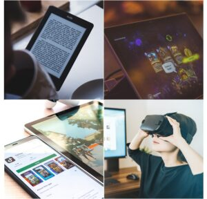 People using Kindle, tablet, mobile phone, and VR headset