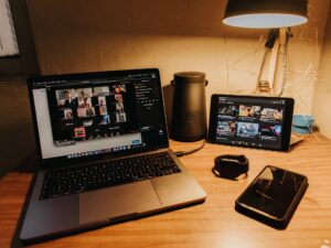 laptop, tablet, phone and smart watch